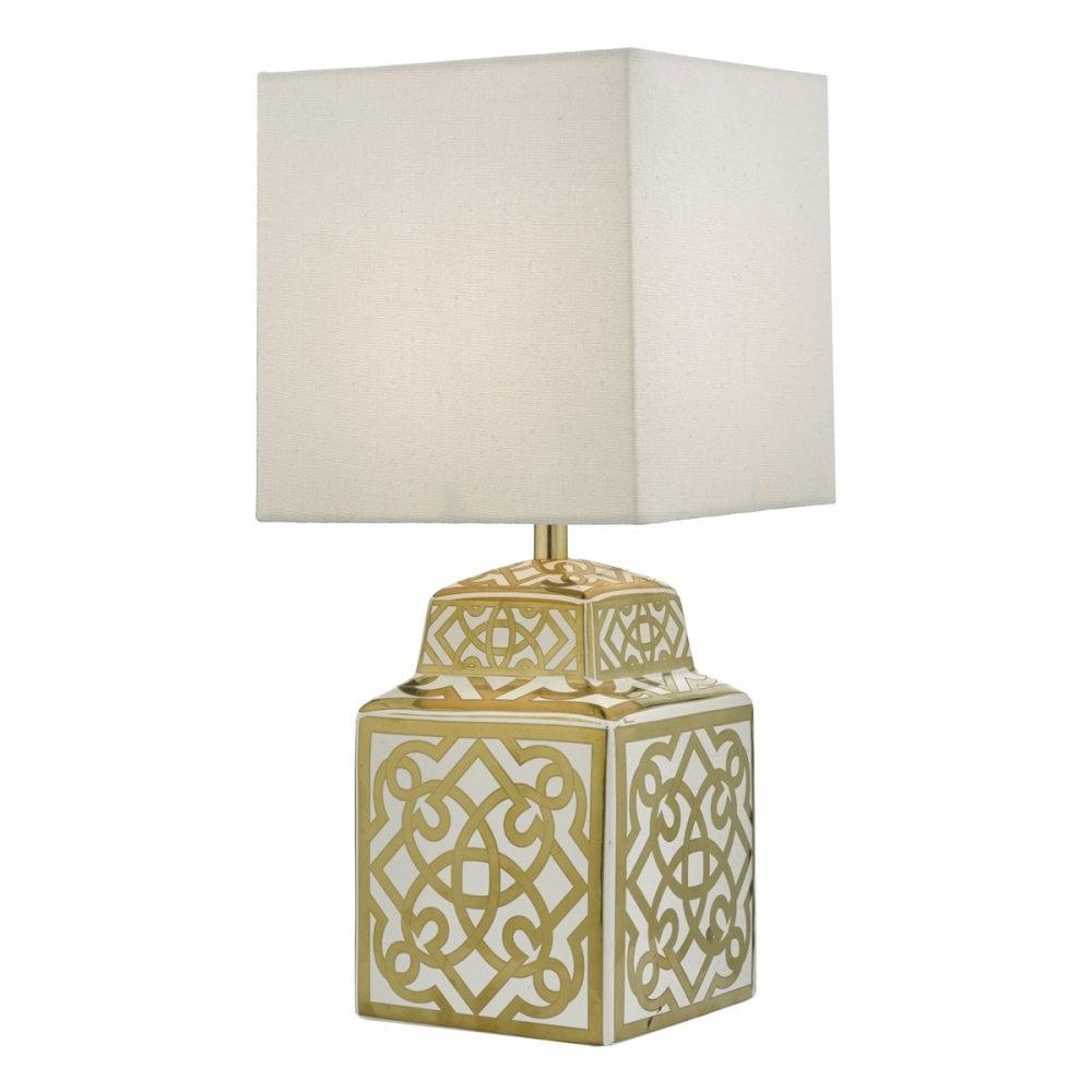 Dar Zun4235 Zunea Table Lamp White Gold C W Shade