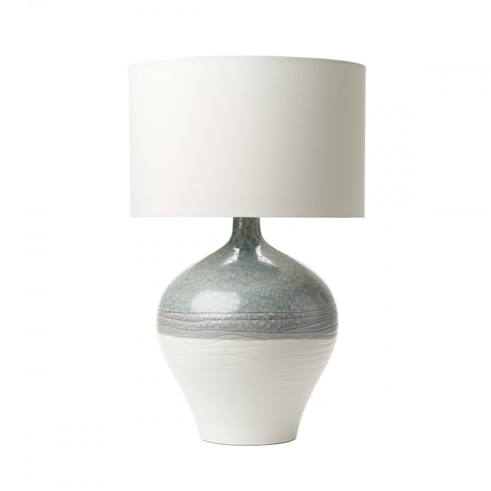 Dar For4223 Gif1502 Forli Table Lamp Blue Grey Ivory Ceramic Base With White Cotton Drum Shade