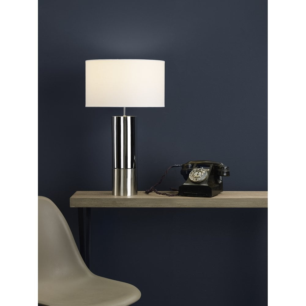 Ing4250 Ingleby Table Lamp Polished Chrome Brushed Chrome