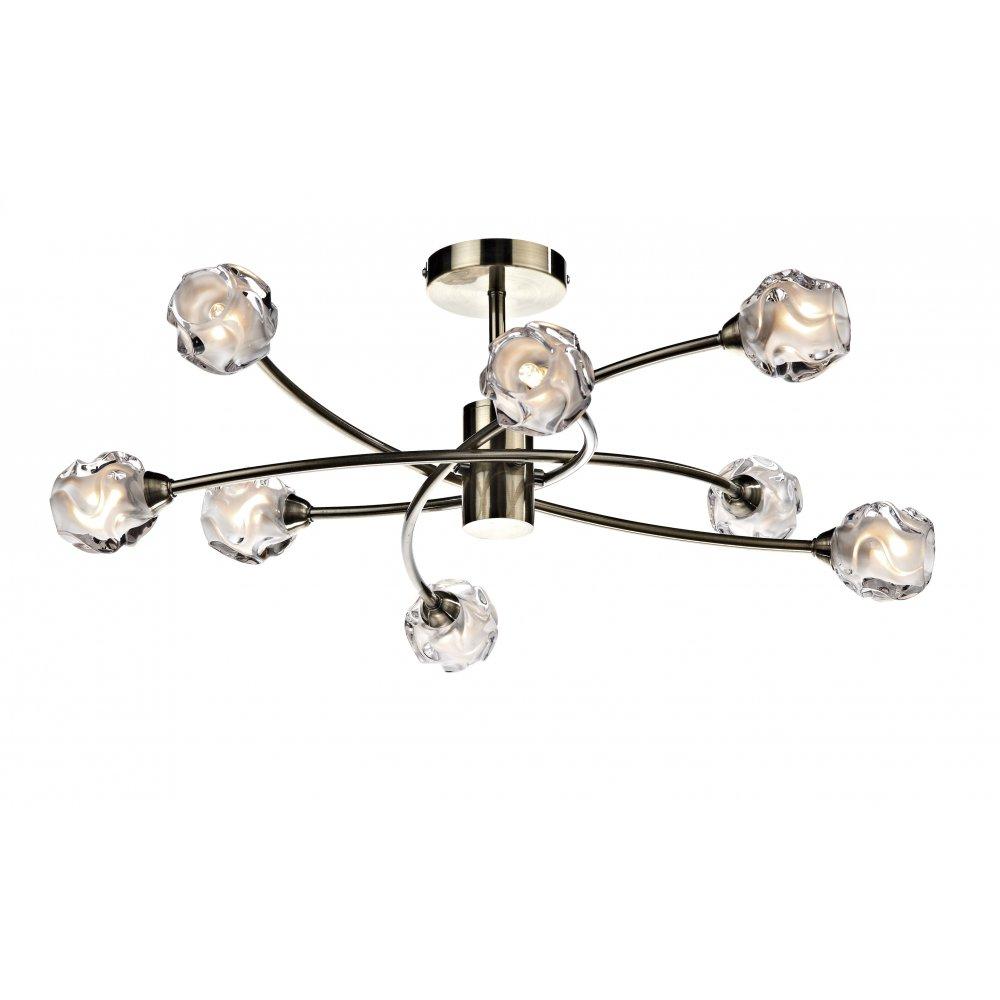 Excellent Sea0875 Seattle 8 Lamp Semi Flush Antique Brass Interior Design Ideas Tzicisoteloinfo