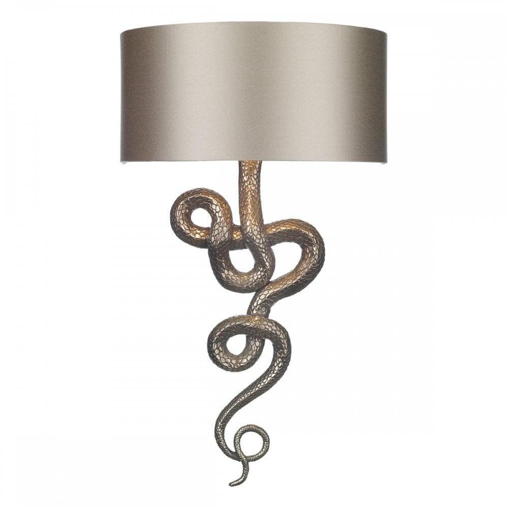Sna0700 Snake Wall Light Bronze Silk Shade