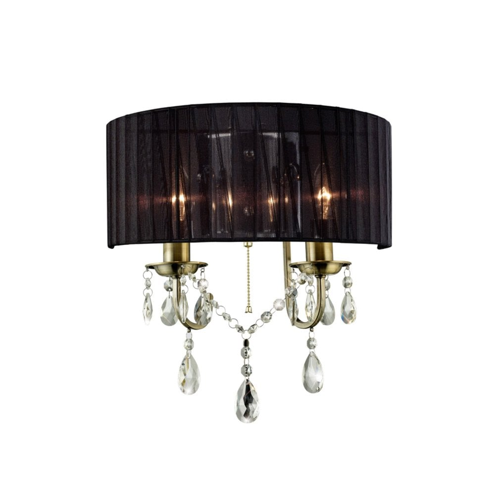 Diyas Il30064 Olivia Wall Lamp With Black Shade 2 Light Antique Brass Crystal