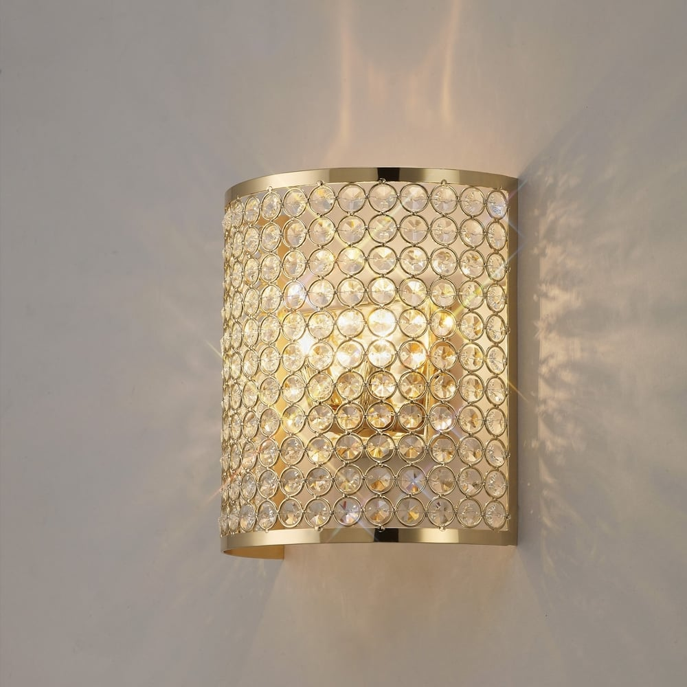 Il30759 Ava Rectangle Wall Lamp 2 Light French Gold Crystal