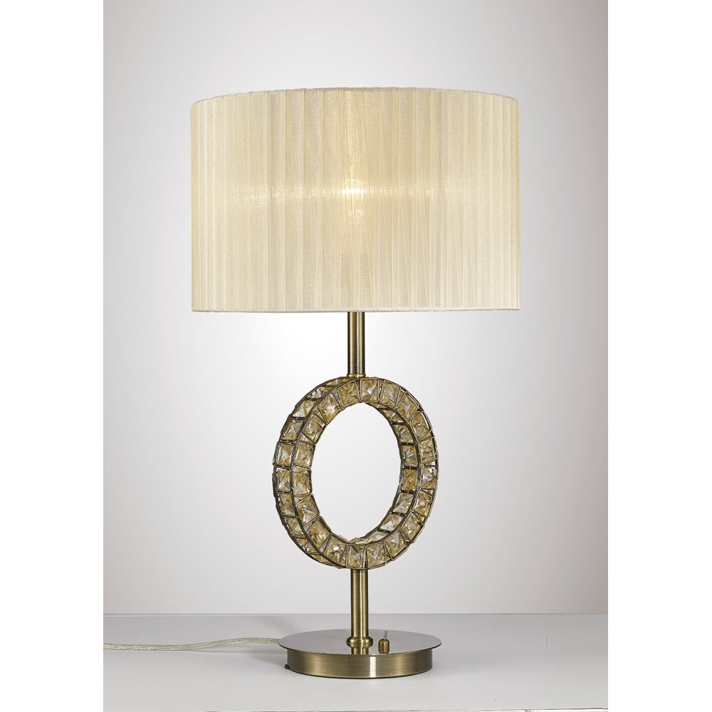 013c2365bbbb Diyas IL31530 Florence Table Lamp Cream Shade Antique Brass/Crystal