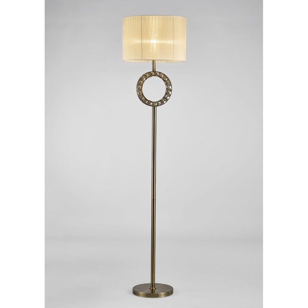 Diyas IL31531 Florence Floor Lamp Cream Shade Antique