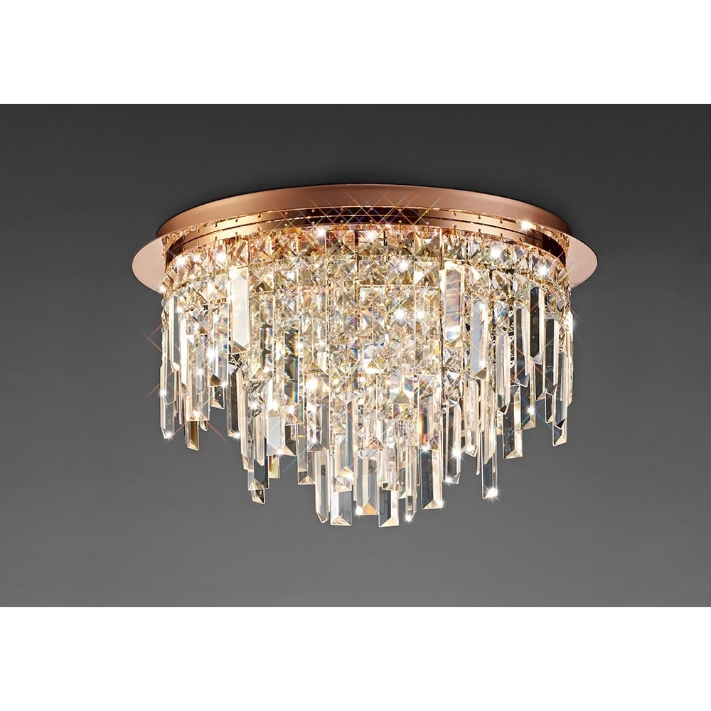 Diyas Il31711 Maddison Ceiling Round 6 Light Rose Gold Crystal