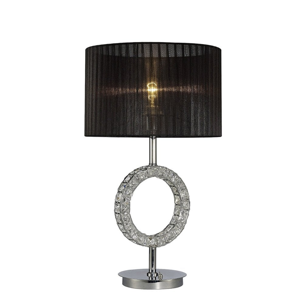 662149c26bd6 IL31724 Florence Round Table Lamp With Black Shade 1 Light Polished Chrome/ Crystal