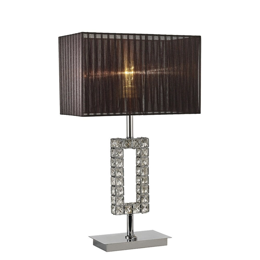 d4efcf647119 IL31726 Florence Rectangle Table Lamp With Black Shade 1 Light Polished  Chrome/Crystal