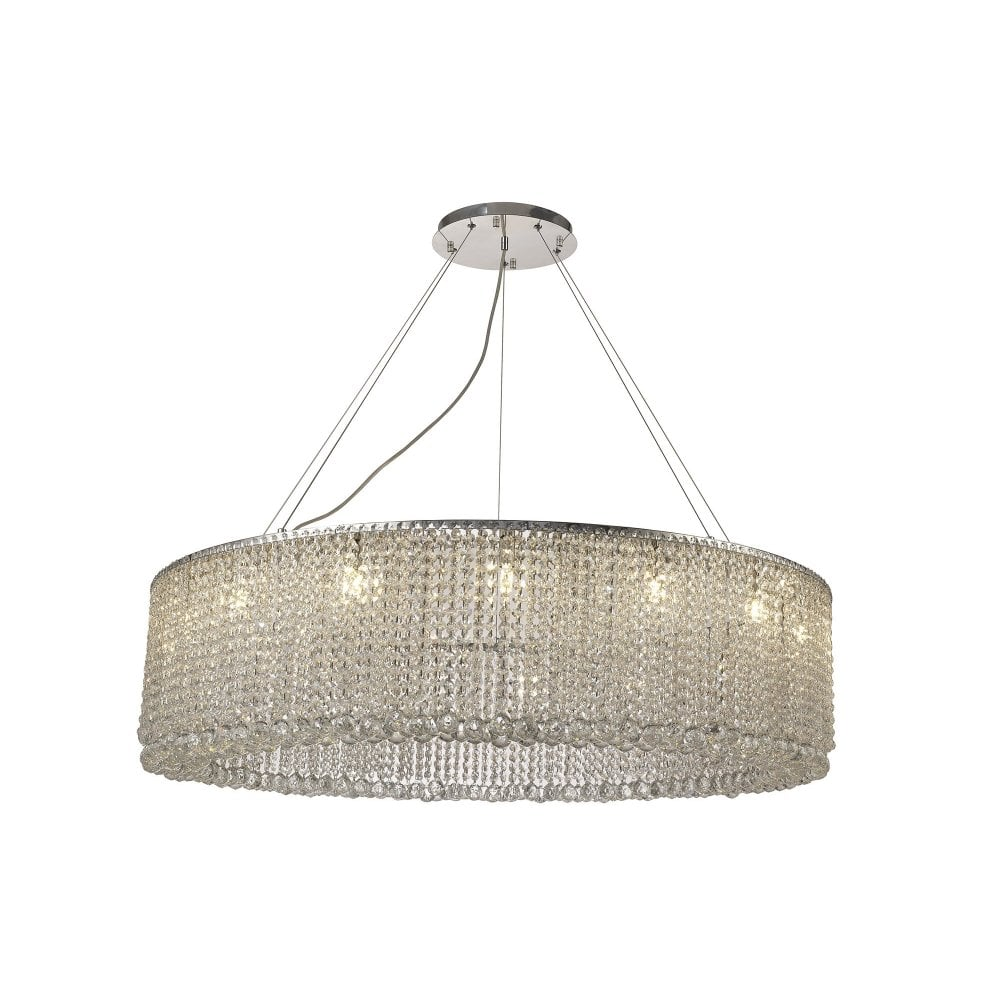 83ac10f88a IL31732 Empire 110cm Round Pendant Chandelier, 15 Light G9, Polished Chrome/ Crystal