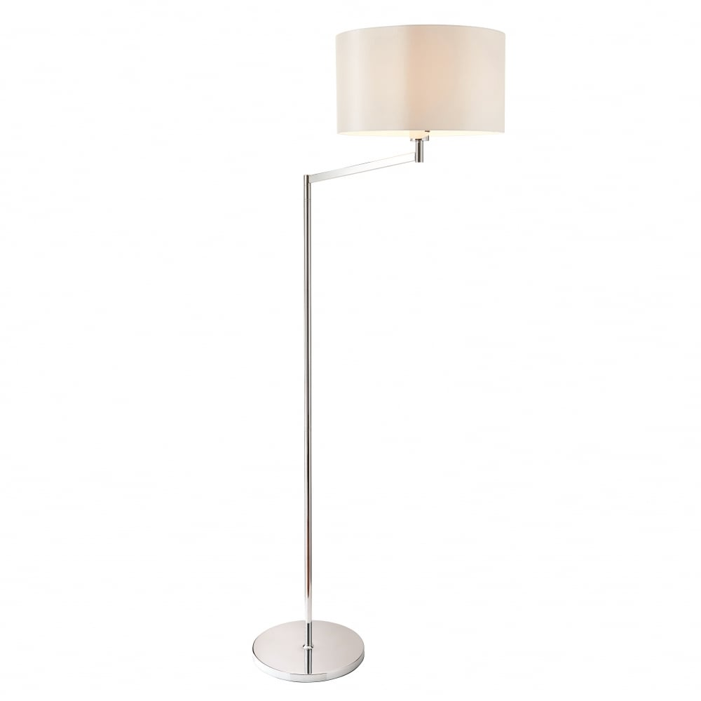 72424 Evelyn Swing Arm Floor Lamp Chrome White Shade