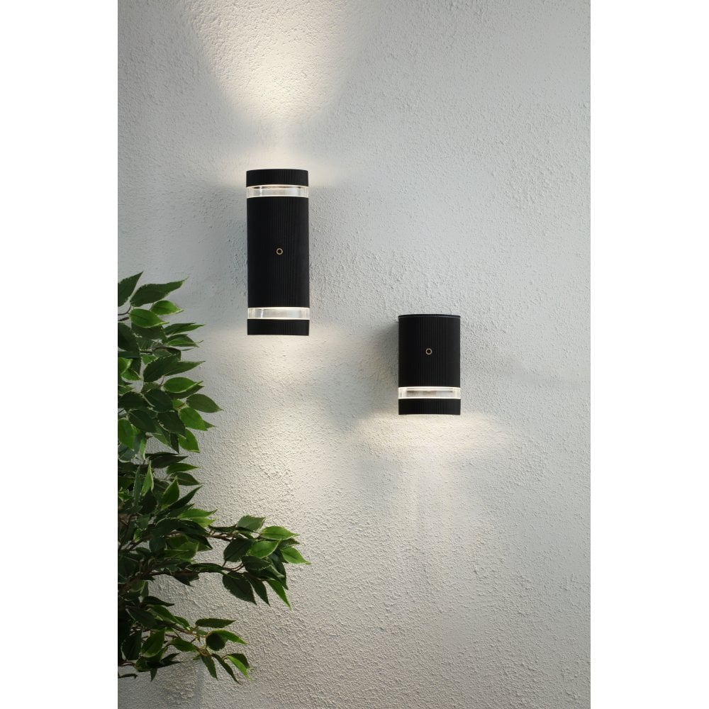 Zn 34040 Blk Helios 2 Light Up Down Outdoor Wall Light Black
