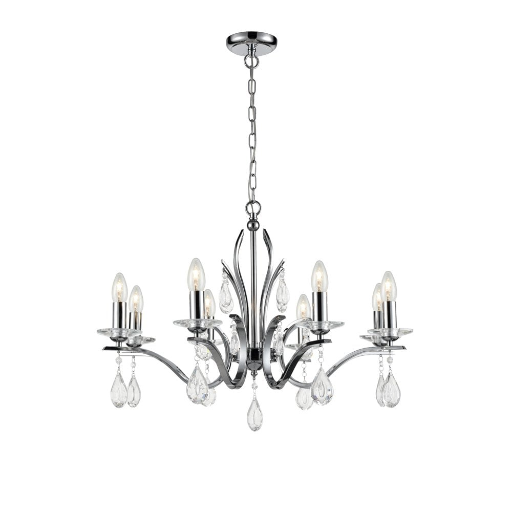 Franklite Willow Chandelier with Crystal Glass Drops (Choice of Lights and Colours)