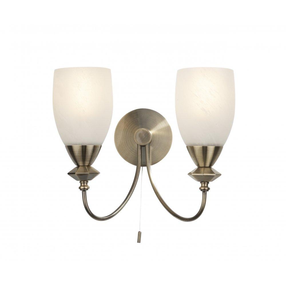 hot sale online e0c0d 6e68a Där Lighting Group Keats KEA0975/20LE double wall bracket in antique brass