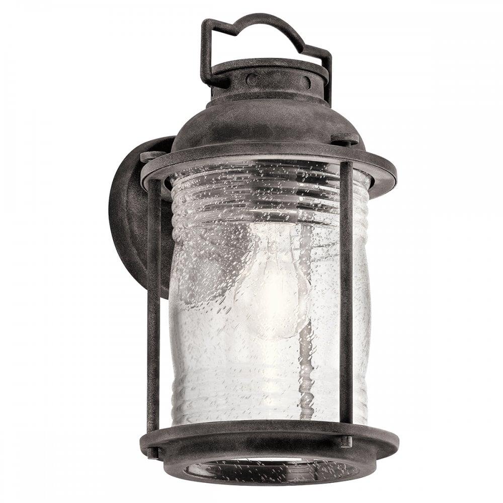 Ashland Pedestal Lantern In Weathered Zinc: KL/ASHLANDBAY2/M Ashlandbay Medium Wall Lantern Weathered Zinc