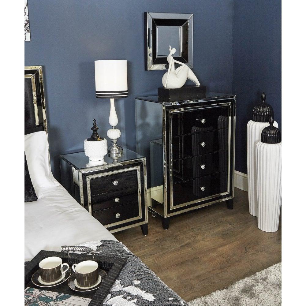 Bq001 Black Queens Mirror Bedside Cabinet