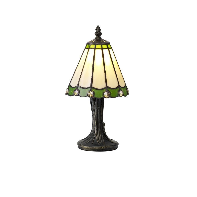 LE00282 Umbrian Tiffany Table Lamp Cream/Green/Clear ...