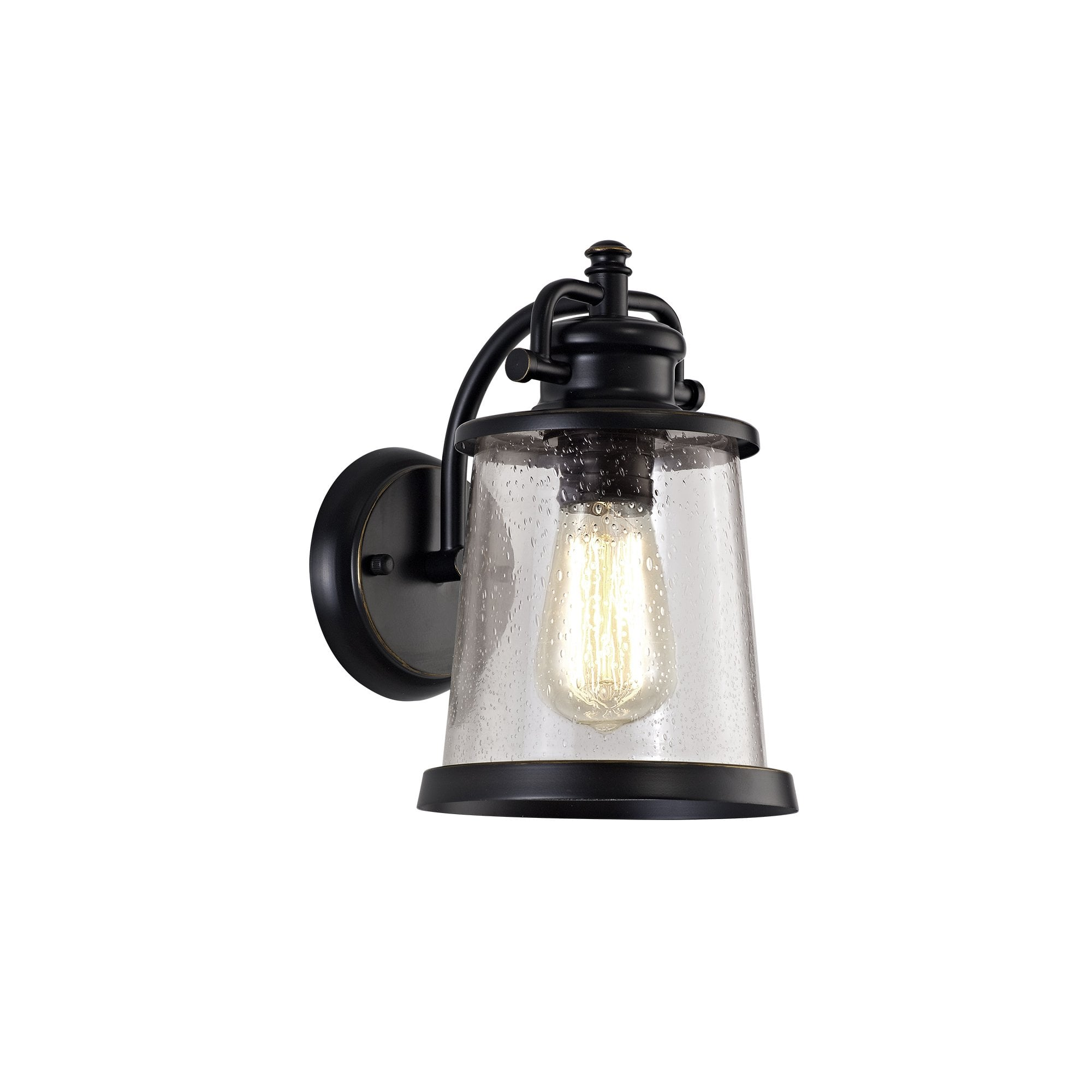 Picture of: Lg71969 Brad Outdoor Wall Lamp Black Gold With Seeded Clear Glass