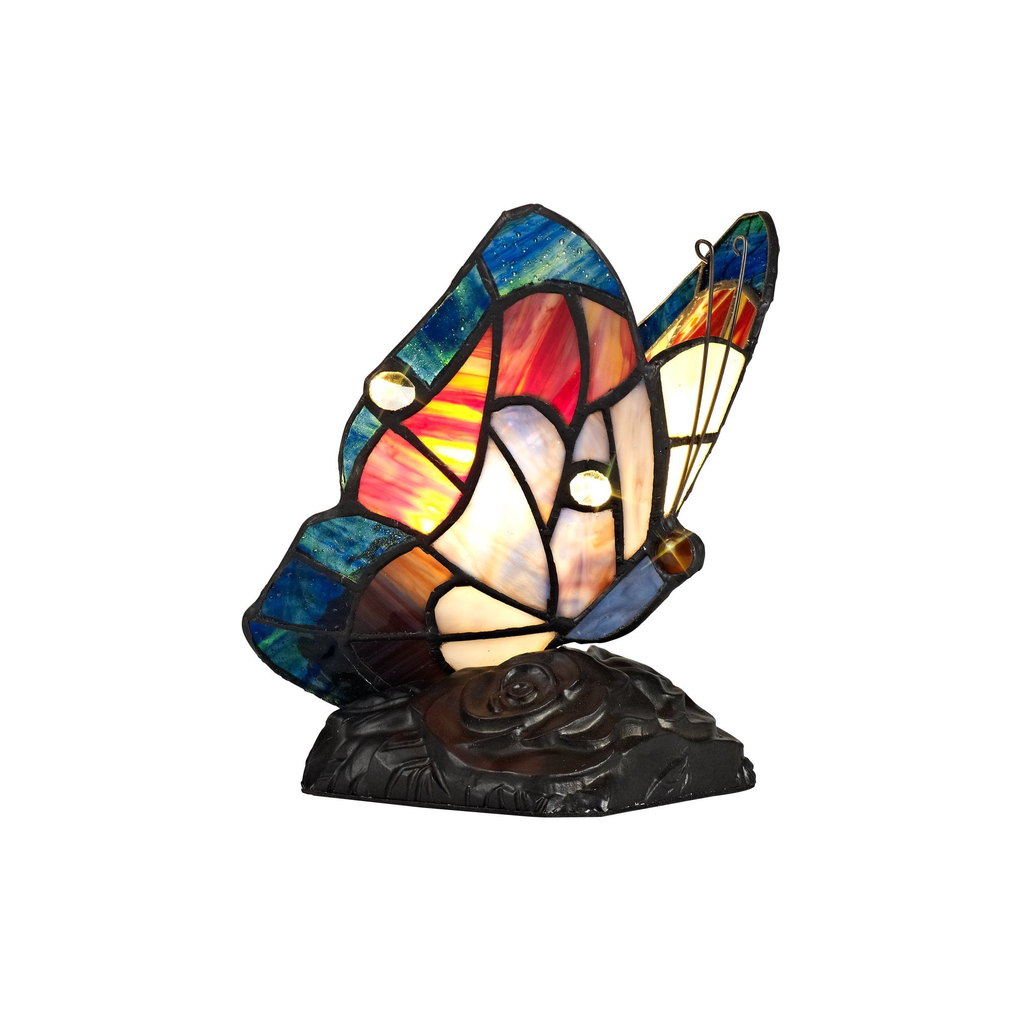 Lg73019 Monty Tiffany Butterfly Table Lamp 1 Light Black Base With Blue Brown Glass With Clear Crystal