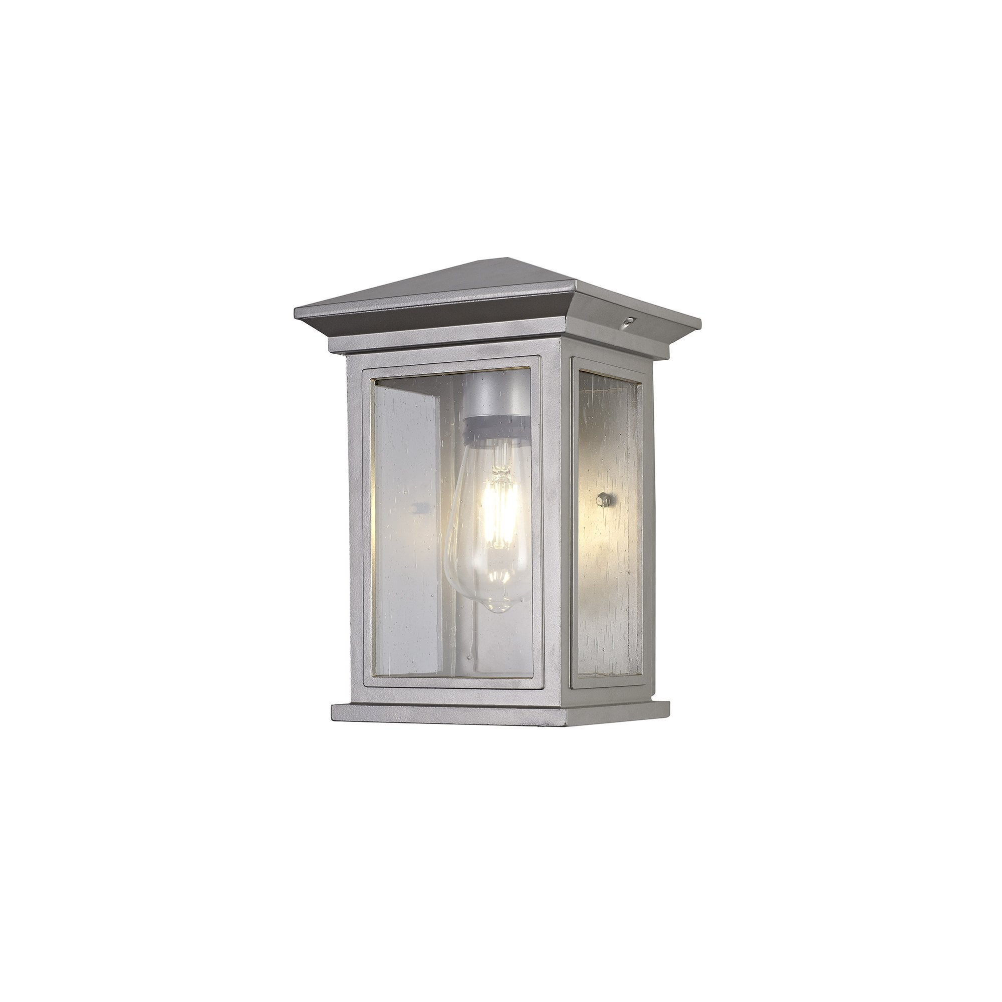 Lg75609 Kemel Outdoor Flush Wall Lamp 1 Light Silver Grey Clear Seeded Glass