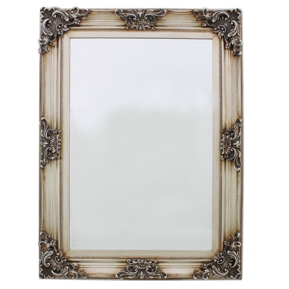 MIR-023-SV Antique Silver Baroque Large Flower Wall Mirror