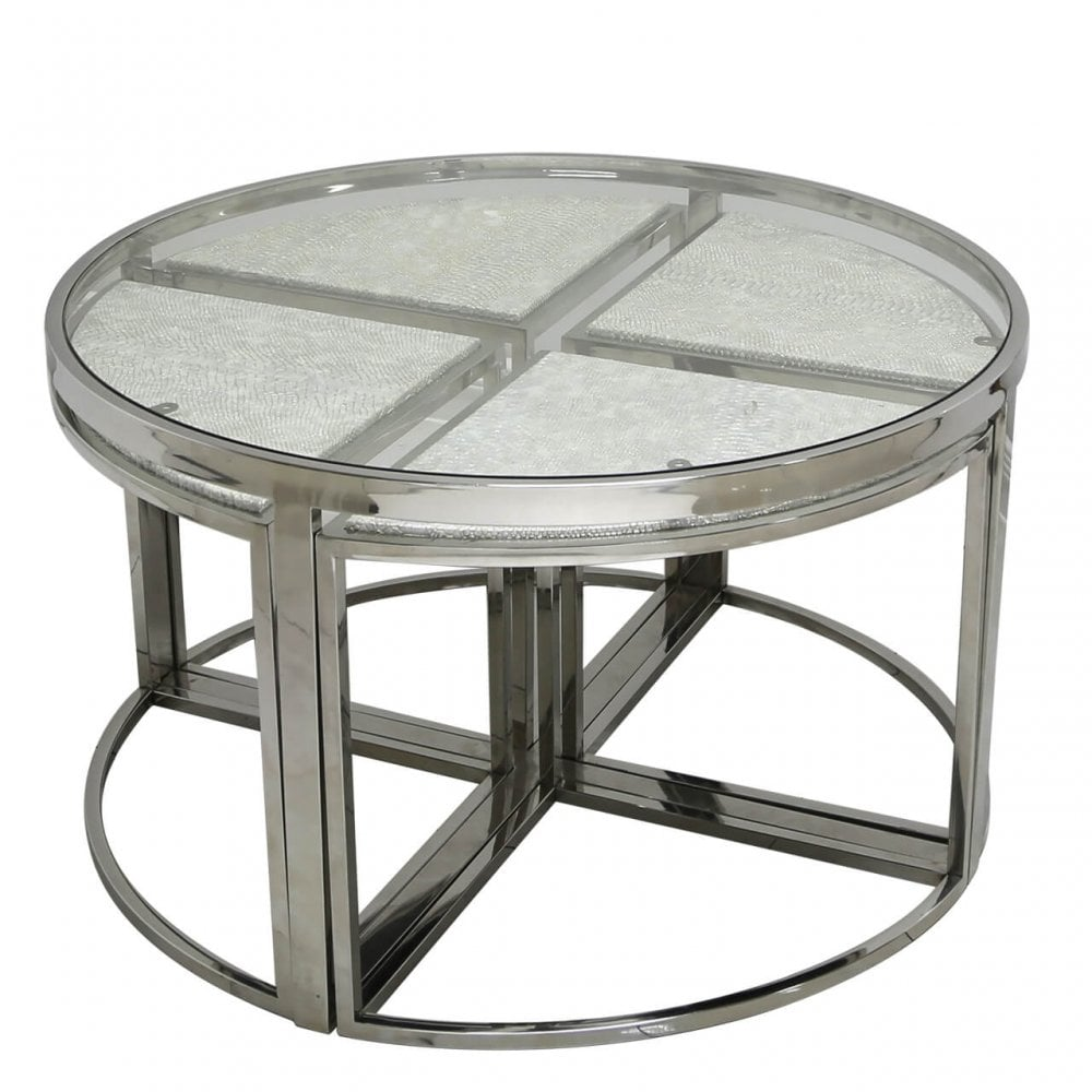 Magnificent Sis016 Silver Snake Silver Snakeskin Coffee Table Home Interior And Landscaping Ferensignezvosmurscom