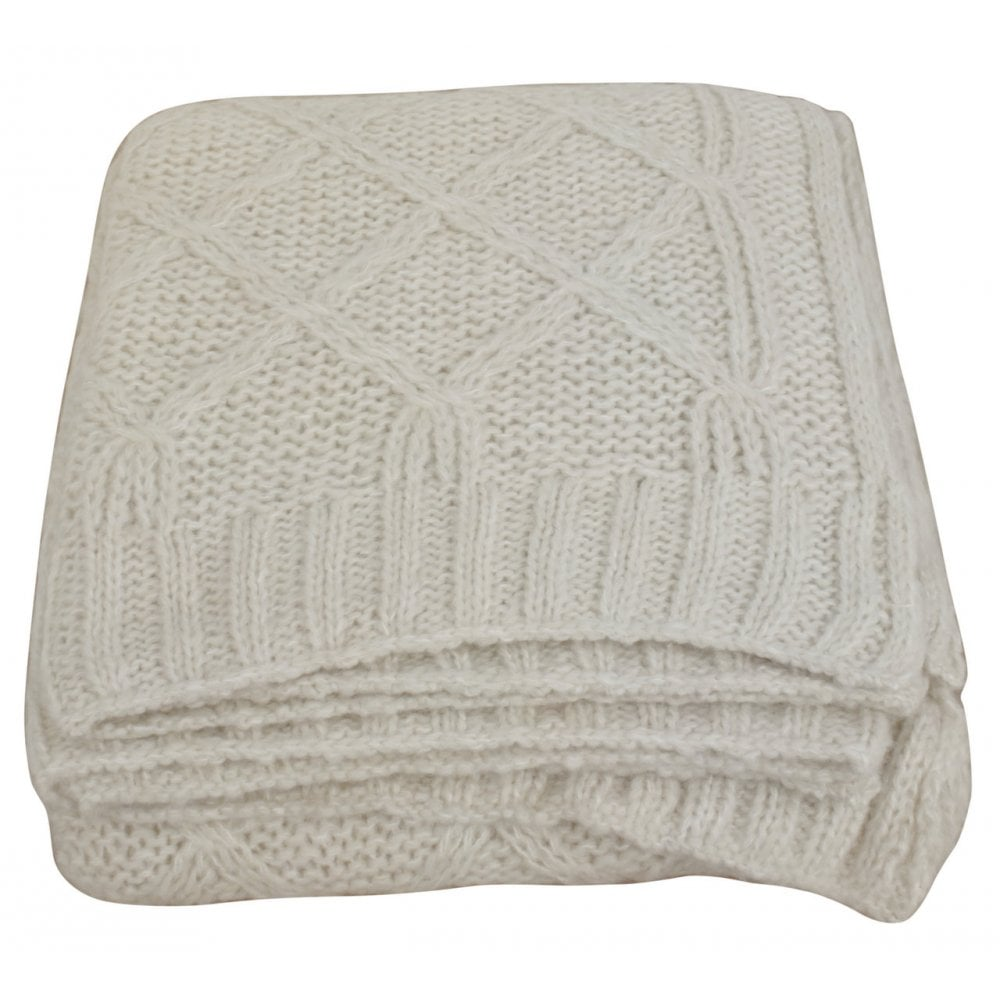 Th025 Cream Wool Diamond Throw