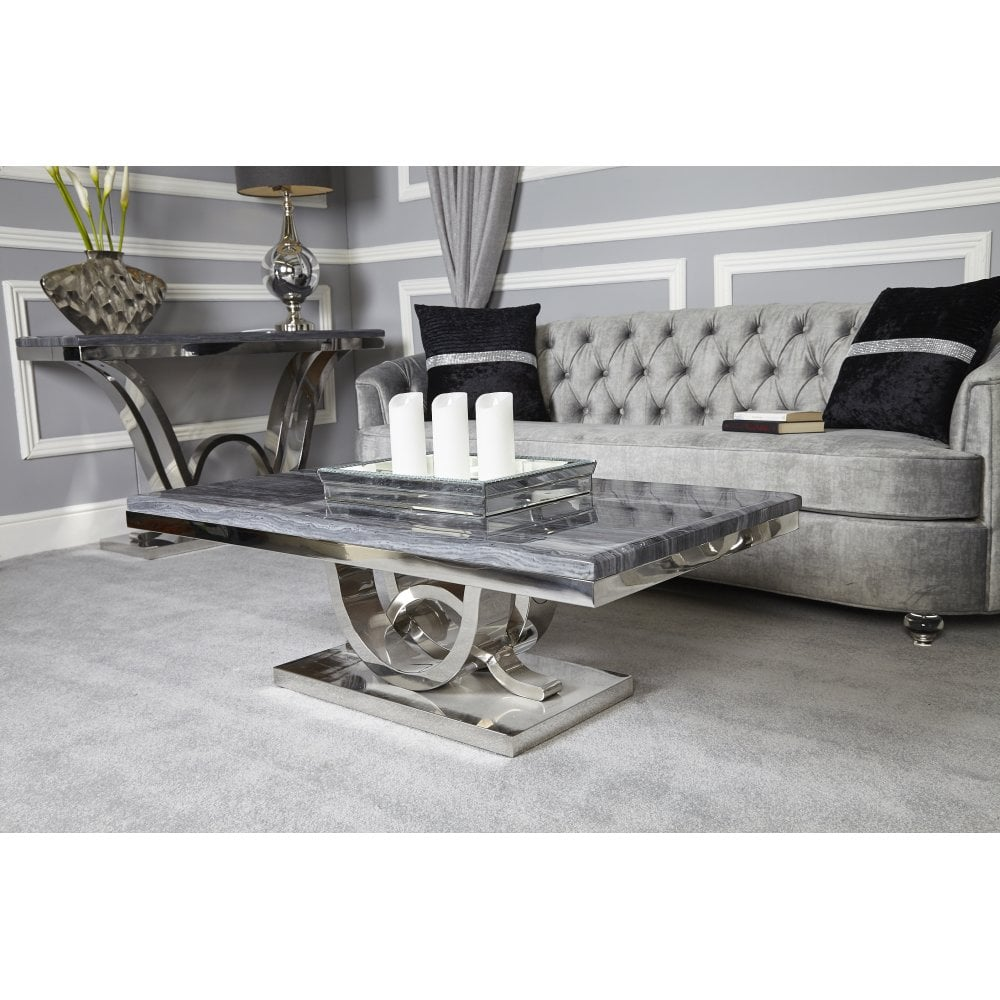 Ven003 Venus Grey Marble And Chrome Coffee Table