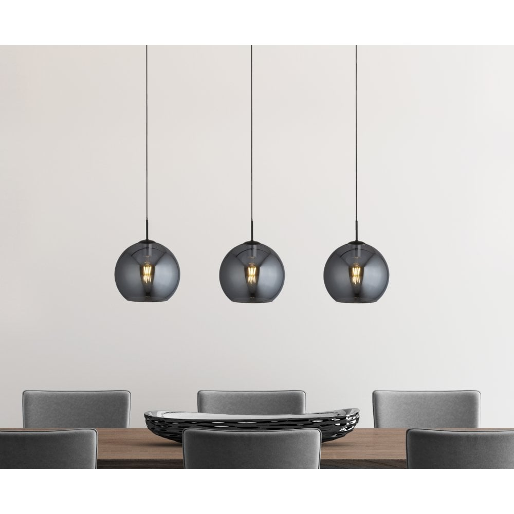 Black Round Fabric Shade 3 Light Crystal Pendant Chandelier