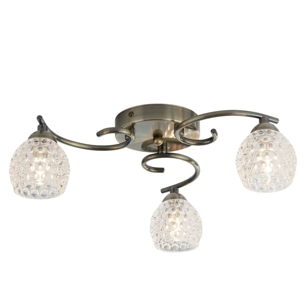 Searchlight 6353-3AB Silhouette 3 Ceiling Pendant In Antique Brass