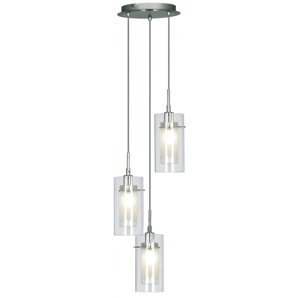 2300 3 duo i ss double glass 3 light pendant