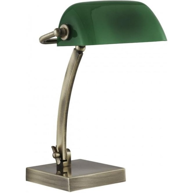 2600AB Bankers lamp modern antique brass with green shade
