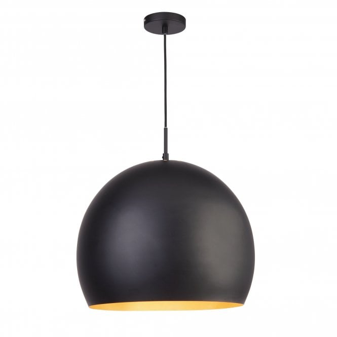 3039bk Industrial Pendant 1 Light 40cm Matt Black Ball