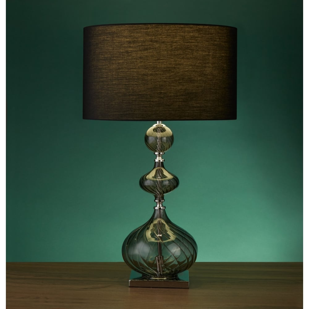 3411SM Edition Table Lamp - Smokey Ribbed Glass Base With ...