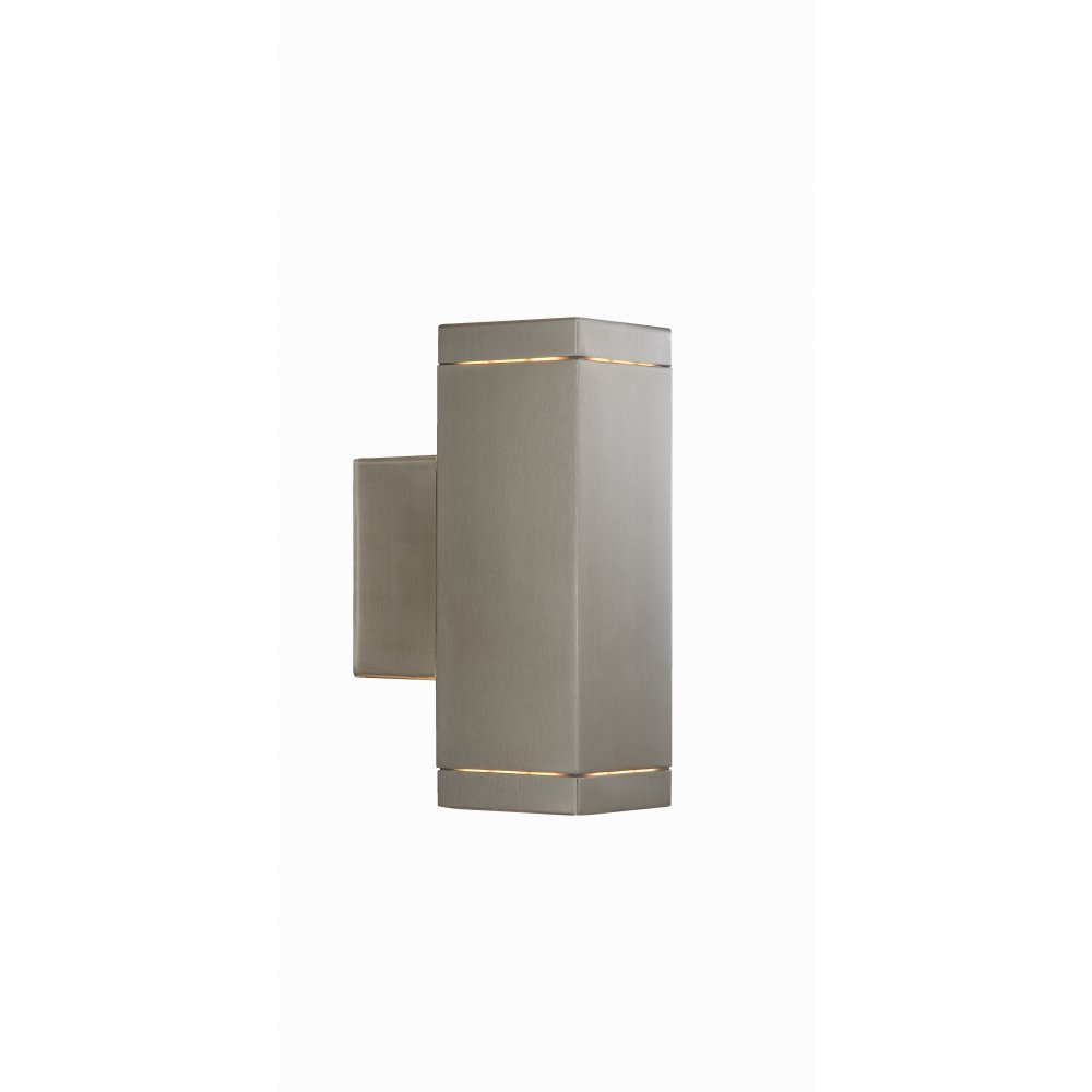 9008 2SS LED Outdoor Porch Gu10 Led Wall Light 2 Satin Silver Square