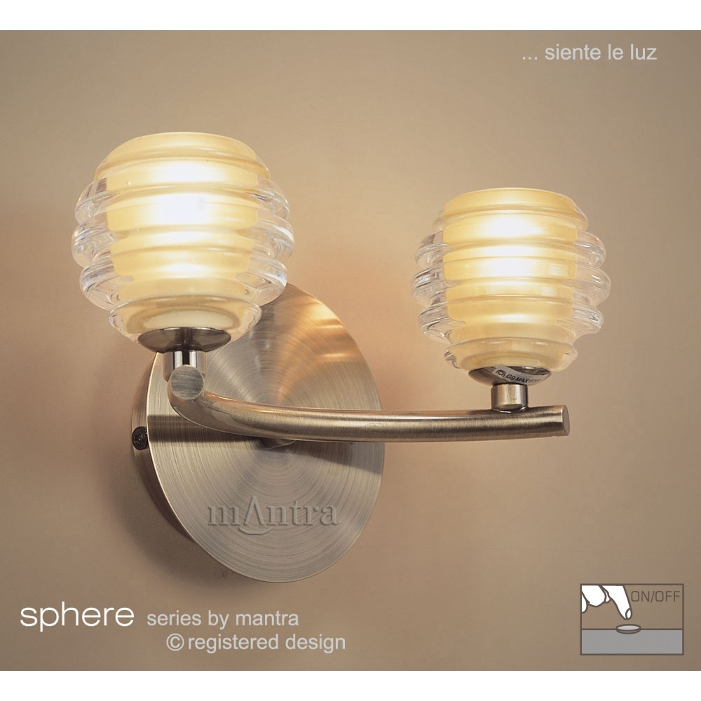 sphere antique brass switched wall lamp lights