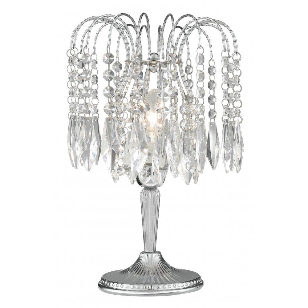 Waterfall 4171 Crystal Table Lamp, Chandelier Bedside Lamps Uk